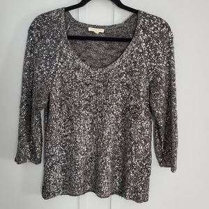Eileen Fisher Metalic and Black 3/4 Sleeve Sweater